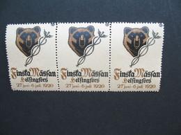 Vignette Bloc De 3 Label Stamp - Vignetta Aufkleber Finlande Aviation Finsta Masran Helsinki Helfingfors 1920 - Sonstige
