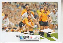 RT31.251  DEUX CARTES COUPE DU MONDE DE RUGBY 2015 -1991-1999-  PUB DE LA SOCIETE GENERALE - Rugby