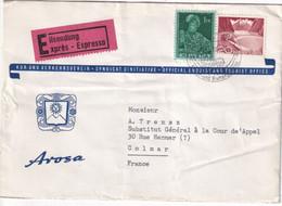 SUISSE - 1956 - ENVELOPPE EXPRES ! Du TOURIST OFFICE De AROSA => COLMAR - Covers & Documents