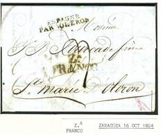 ESPAÑA  Carta De ZARAGOZA  1824 Hasta OLORON STE MARIE  PR17 - ...-1850 Prephilately