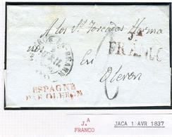 ESPAÑA  Carta De JACA  FRANCO  1837 Hasta OLERON  PR19 - ...-1850 Vorphilatelie