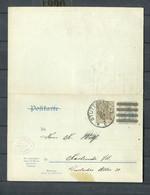 """Deutsches Reich - 1909 - Postkarte Mit Antwortteil Mi. P 87 Einkreisstempel """"STUTTGART"""" (1774) - Postwaardestukken"""