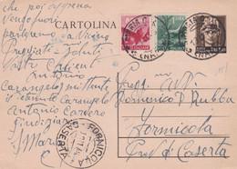 LUOGOTENENZA - FORMICOLA (CASERTA) INTERO POSTALE L. 1,20 - FR.LLI. AGGIUNTA VG.PER S. MARIA CAPUA (CASERTA) - Storia Postale