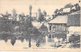 21 - SEMUR : Vue Sur L'Armançon Et Le Donjon ( Lavoir Et Lavandières En 1er Plan ) CPA Village ( 4.125 H )  Côte D'Or - Semur