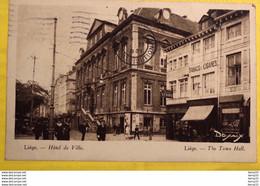 BELGIQUE - LIÈGE - Hôtel De Ville - Animée : Horlogerie GÉRARD, TABACS CIGARES, Passants - Luik