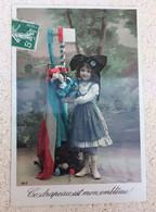 Carte Postale Ce Drapeau Est Mon Emblème Fillette Coiffe Alsacienne Guerre 14 18 - Guerra 1914-18
