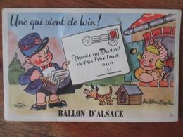 Carte A Systeme.  Le Ballon D Alsace , Facteur Avec Petite Fille Et Son Chien .  Illustrateur Bozz - Sonstige Gemeinden