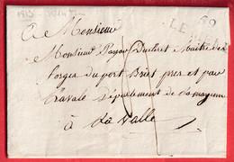 MARQUE 59 LE MELE ORNE 1819 POUR LAVAL MAYENNE INDICE 10 PORT BILLET - 1801-1848: Précurseurs XIX