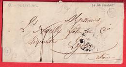 CAD TYPE 12 MONTELIMAR DROME BOITE RURALE F LA COUCOURDE POUR LYON 1838 - 1801-1848: Précurseurs XIX