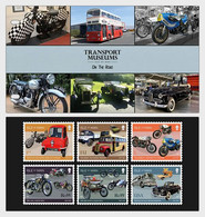 Iom 2021 Man Transport Museums Road Cars Bus Truck Motorbike Delage 6v Mnh PACK  Vauxhall Triumph Leyland Ariel Greeves - Isola Di Man