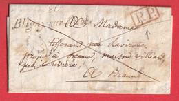 CURSIVE 20 BLIGNY SUR OURCE + PP ROUGE COTE D'OR 1832 TAXE 1 LOCALE AU DOS INDICE 9 - 1801-1848: Précurseurs XIX