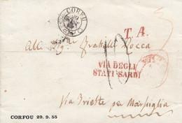 1834 - CORFU' - Lettera Con Testo Del 29 Settembre 1855 Da Corfù A Marsiglia , Via Trieste - ...-1861 Prephilately