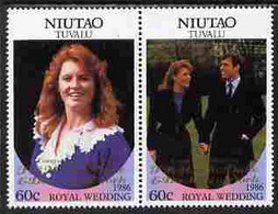 Tuvalu - Niutao 1986 Royal Wedding  $1 With 'Congratulations' Opt In Gold Se-tenant Pair Unmounted Mint From Printer's U - Tuvalu