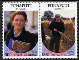 Tuvalu - Funafuti 1986 Royal Wedding  $1 With 'Congratulations' Opt In Gold Se-tenant Pair Unmounted Mint From Printer's - Tuvalu