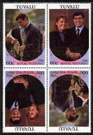 Tuvalu 1986 Royal Wedding  60c With 'Congratulations' Opt In Gold In Unissued Perf Tete-beche Block Of 4 (2 Se-tenant Pa - Tuvalu