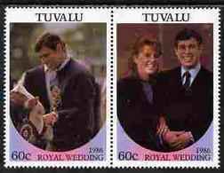 Tuvalu 1986 Royal Wedding  60c With 'Congratulations' Opt In Gold Se-tenant Pair With Overprint Inverted Unmounted Mint - Tuvalu