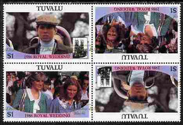 Tuvalu 1986 Royal Wedding  $1 With 'Congratulations' Opt In Gold In Unissued Perf Tete-beche Block Of 4 (2 Se-tenant Pai - Tuvalu