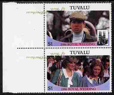 Tuvalu 1986 Royal Wedding  $1 With 'Congratulations' Opt In Gold Se-tenant Marginal Pair With Overprint Inverted And Mis - Tuvalu