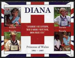 Tuvalu 2010 Princess Diana Perf Sheetlet Containing 4 Values Unmounted Mint - Tuvalu