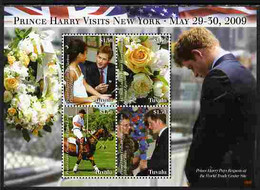 Tuvalu 2009 Prince Harry Visits New York Perf Sheetlet Containing 4 Values Unmounted Mint - Tuvalu