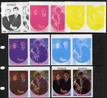 Tuvalu 1986 Royal Wedding  60c Set Of 7 Imperf Progressive Proofs Comprising The 4 Individual Colours Plus 2, 3 And All - Tuvalu