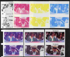 Tuvalu 1986 Royal Wedding  $1 Set Of 7 Imperf Progressive Proofs Comprising The 4 Individual Colours Plus 2, 3 And All 4 - Tuvalu