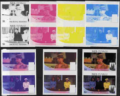 Tuvalu - Nui 1986 Royal Wedding  $1 Set Of 7 Imperf Progressive Proofs Comprising The 4 Individual Colours Plus 2, 3 And - Tuvalu