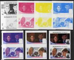 Tuvalu - Funafuti 1986 Royal Wedding  $1 Set Of 7 Imperf Progressive Proofs Comprising The 4 Individual Colours Plus 2, - Tuvalu
