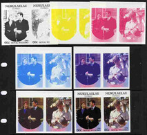 Tuvalu - Nukulaelae 1986 Royal Wedding  60c Set Of 7 Imperf Progressive Proofs Comprising The 4 Individual Colours Plus - Tuvalu