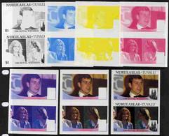 Tuvalu - Nukulaelae 1986 Royal Wedding  $1 Set Of 7 Imperf Progressive Proofs Comprising The 4 Individual Colours Plus 2 - Tuvalu