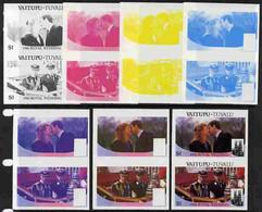 Tuvalu - Vaitupu 1986 Royal Wedding  $1 Set Of 7 Imperf Progressive Proofs Comprising The 4 Individual Colours Plus 2, 3 - Tuvalu