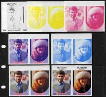 Tuvalu - Vaitupu 1986 Royal Wedding  60c Set Of 7 Imperf Progressive Proofs Comprising The 4 Individual Colours Plus 2, - Tuvalu