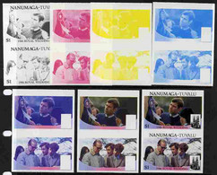 Tuvalu - Nanumaga 1986 Royal Wedding  $1 Set Of 7 Imperf Progressive Proofs Comprising The 4 Individual Colours Plus 2, - Tuvalu