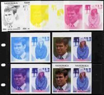 Tuvalu - Nanumaga 1986 Royal Wedding  60c Set Of 7 Imperf Progressive Proofs Comprising The 4 Individual Colours Plus 2, - Tuvalu