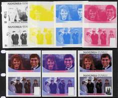 Tuvalu - Nanumea 1986 Royal Wedding  $1 Set Of 7 Imperf Progressive Proofs Comprising The 4 Individual Colours Plus 2, 3 - Tuvalu