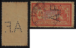 France Merson Stamp With Perfin A.F. By The Banque Argentine Et FrançaiseArgentinian And French Bank From Paris Seine - Perforadas
