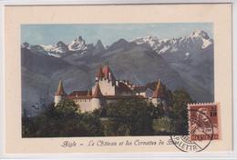 134 Maximumkarte Mit Datum 6. X. 15 - Stempel LAUSANNE Exp. Lettre - Schloss Aigle - Cartas
