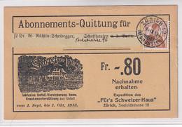 """121 Auf Karte Abonements-Quittung Für Zeitschrift """"SCHWEIZER HAUS"""" Mit Unfallversicherung - Cartas"""