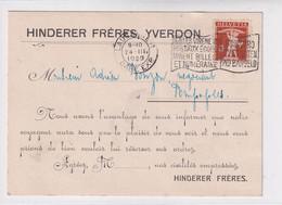 137 Auf Karte Von Hinder Frères, Yverdon - Cartas