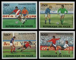 Niger 1984 - Mi-Nr. 908-911 B ** - MNH - Ungez. / Imp - Fußball / Soccer - Niger (1960-...)
