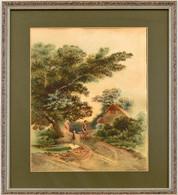 Jelzés Nélkül: Hazafelé. Akvarell, Papír. Lapon Apró Foltokkal. Üvegezett Fa Keretben. 37x25 Cm - Non Classificati