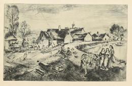 Jelzés Nélkül: Faluvége. Rézkarc, Papír, 19×30,5 Cm - Non Classificati