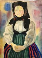 Jelzés Nélkül: Kislány Népviseletben. Akvarell, Papír, Sérült. 65x47 Cm - Non Classificati
