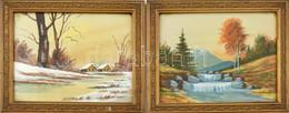 Jelzés Nélkül: 2 Db Tóparti Tájkép, Akvarell, Papír, Szép Régi üvegezett Keretben. Korának Megfelelő állapotban. 19x26 C - Non Classificati