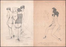 Jelzés Nélkül: Pesti Izé Pajzán Grafikái. Ceruza, Papír, 11 Db, 21,5×30,5 Cm - Non Classificati