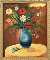 Jelzés Nélkül: Virágcsendélet. Olaj, Vászon. Sérült Fa Keretben, 53,5×45 Cm - Non Classificati