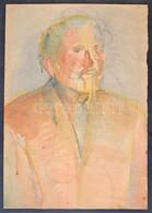 Jelzés Nélkül: Portré (tanulmány), Ceruza, Akvarell, Papír, Lap Alján Szakadással, Jobb Szélén Hiánnyal, 61x43 Cm - Non Classificati