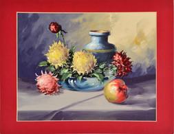 Jelzés Nélkül: Csendélet Virágokkal és Almával. Akvarell, Papír, Paszpartuban, 24×31,5 Cm - Non Classificati