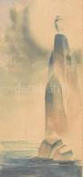 Jelzés Nélkül: A Sziklák Királynője. Akvarell, Papír, Kartonra Kasírozva. Üvegezett Fa Keretben, 26×12,5 Cm - Non Classificati