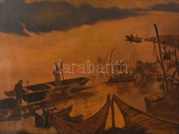 Jelzés Nélkül: Halászok. Olaj, Farost. Dekoratív Fa Keretben. 42x57 Cm - Non Classificati